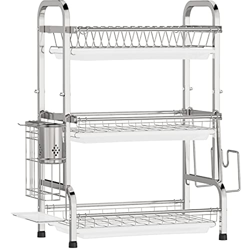 Dish Drying Rack, iSPECLE Large Capacity 201 Stainless Steel Dish Rack with Utensil Holder, Cutting Board Holder and Dish Drainer for Kitchen Counter
