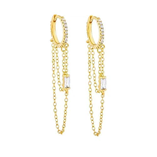 Pendientes Mujer Pendientes De Doble Cadena De Plata De Ley 925 para Mujer Pendientes De Aro De Color Plateado Dorado Simple Joyería De Moda - Oro