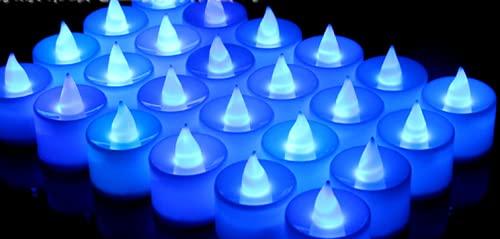 Nicejoy Velas LED, Velas sin Llama, Vela LED Vela eléctrica Larga Larga Duración El Azul Brillante Destella Velas Falsas para Fiesta de Fiesta