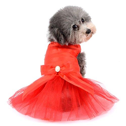 Ranphy Prinzessinnenkleid mit Schleife, gestreift, für kleine Hunde und Katzen, Tüll, Tutu-Rock, Welpenkleidung, Rot, L