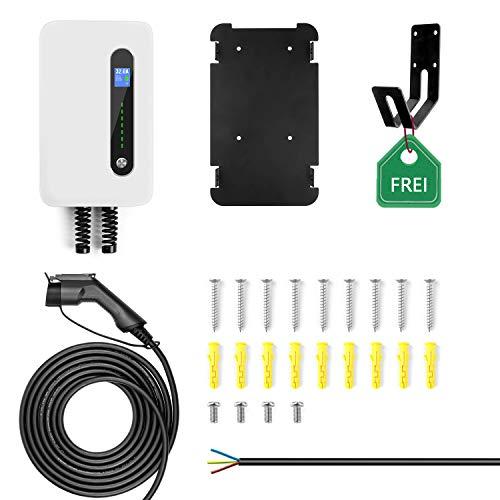 LEFANEV Ladestation für Elektrofahrzeuge (EV) mit 32 Ampere Großes Display und EU Stecker Typ 2 (IEC 62196-2) EVSE, 20-Fuß-Kabel, Innen/Außenbereich (White) - 9