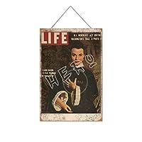 ライフタイム誌の表紙木製のリストプラーク木の看板ぶら下げ木製絵画パーソナライズされた広告ヴィンテージウォールサイン装飾ポスターアートサイン