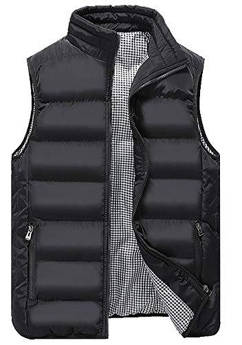 WIEAYUMEI - Chaleco acolchado de plumón para hombre con bolsillos con cremallera para invierno
