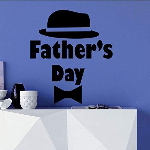 Wandtattoo Vatertag Hut Krawatte Art Home Decoration Schlafzimmer Vinyl Wandaufkleber Geschenk Für Papa Interior Decor Wandbild 57X65 Cm