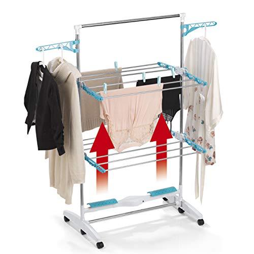 EASYmaxx Luftstrom-Wäscheständer | schnelle Trocknung, weniger Falten | faltbar, extrem leicht [weiß, türkis]