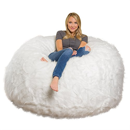 Comfy Sacks 6 ft Memory Foam Bean Bag Chair, White Furry