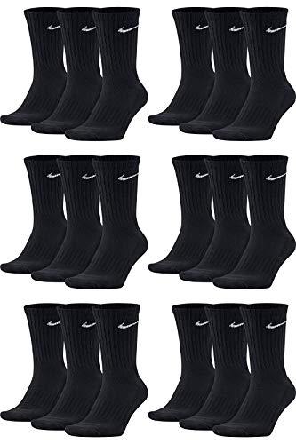 Nike 18 Paar Socken Herren Damen Sparset Tennissocken Sportsocken Laufsocken Paket Bundle SX4508 Weiß Schwarz Grau, Sockengröße:38-42, Farbe:schwarz/schwarz/schwarz