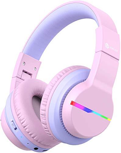 iClever Bluetooth Auriculares para Niños, Luces LED coloridas, Limitador de Volumen de 74 / 85 / 94 dB, Tiempo de Reproducción de 40 horas, Bluetooth 5.0, Micrófono Incorporado.