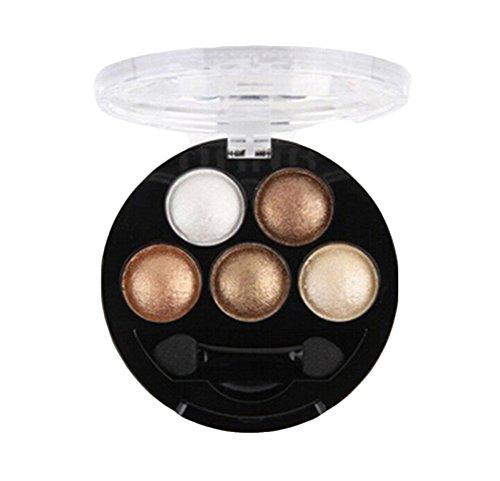 Haifly 5 Farben Augen Schminke Glitzer Lidschatten Puder Kosmetik Eyeshadow Glitter Make up Palette Golden