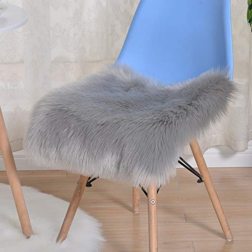 Trayosin Sitzkissen,Faux Lammfell Schaffell Sitzauflage Longhair Fell Optik Nachahmung Wolle Sofa Matte (Grau, 40 * 40cm)