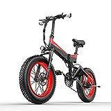 Vélo électrique pliant X3000 20 pouces Gros pneus 1000W moteur 48v * 14.5Ah batterie écran LCD vélo électrique à 7 vitesses, portée jusqu'à 60 km (Negro Rojizo)