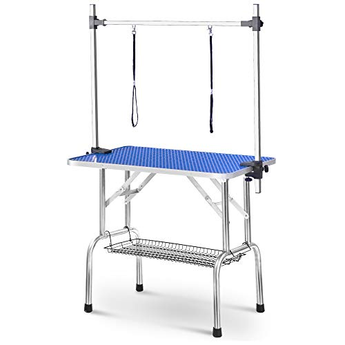 BTM Adjustable Portable Stainless Steel Dog Grooming Table with Arm Noose and Accessorie Tray, Size W90 D60 H76 cm / W36 D23.6 H30 inch