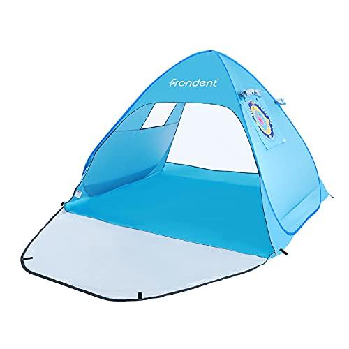 Tienda de Playa Pop Up 3-4 Personas Anti-UV Protección Solar Instantánea Automática UPF 50+ Portátil Ligero Impermeable Anti Vient para Playa Parque Pescar Patio Azul Ventilación 190 * 164 * 130cm