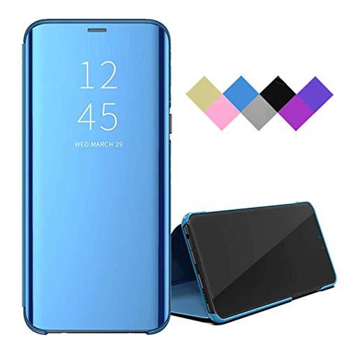 BRAND SET Hülle für Oppo Find X2 Pro Tasche Smart Spiegel Lederhülle Shell Flip Hülle Mit Sleep/Wake-Funktion Schutzhülle für Oppo Find X2 Pro-Blau