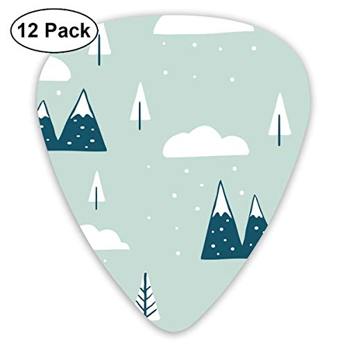 Guitar Pick First Snow 12 Piece Guitar Paddle Set Made of Environmental Protection ABS Material, Suitable for Guitars, Quads, Etc