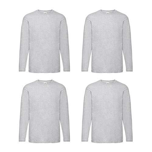 4 Fruit of the Loom T Shirt Longsleeve M L XL XXL Langarm verschiedene Farbsets auswählbar (XL, Grau)