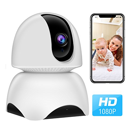 Wireless Security Camera, 1080P WiFi IP Home Security Surveillance Camera for Pet/Nanny/Elder/Baby Monitor with Pan/Tilt/Zoom, Two Way Audio, Night Vision and Motion Detection with iOS/Android App