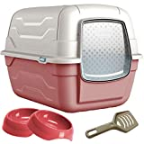 CatCentreⓇ Pink Large Hooded Cat Litter Tray & Gusto Food Water Bowls Bundle