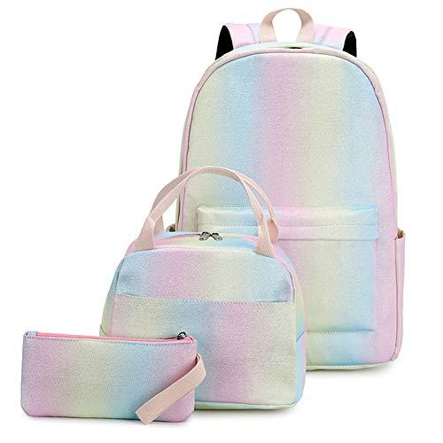 WU Licht Schultaschen-Set Canvas-Tasche Mit Glänzendem Farbverlauf Verstellbarer Schultergurt,Rucksack Schule + Lunchpaket Tasche + Mäppchen