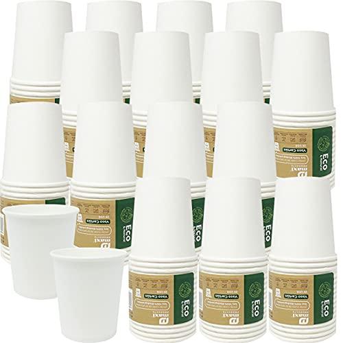 Eco Natural 400 Vasos de Papel Biodegradable de 200 cc. Higiénicamente Empaquetados, Apto para Agua, Café, Bebidas Calientes y Frias. Color Blanco Desechables, 100% Ecologicos