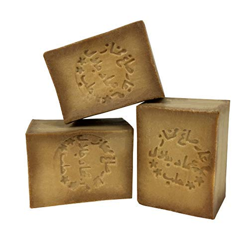 Handgemaakte originele Aleppo-zeep - met olijfolie en 25% laurierolie - traditionele, pure en organische zeep - geschikt voor kinderen en een gevoelige huid - 3 zeepjes