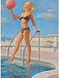 Art Frahm Pinup Girl A Bathing Beauty with Beach Ball 1950 p7467 A2 Canvas -...