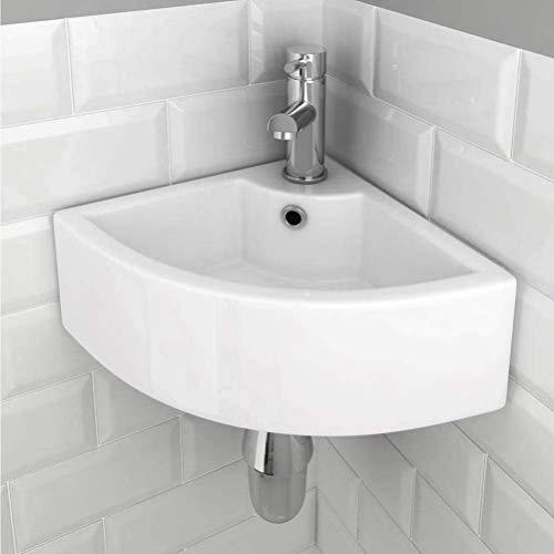 eConnect-EU Waschbecken Waschbecken Wandbehang Dreieck modernen Stil einfache elegante weiße Keramikbehälter Toilette WC Ecke Garderobe Waschbecken.