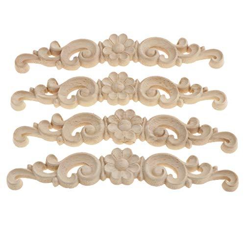 non-brand 4pcs Floreale in Legno Intagliato Decalcomania Angolo Applique Decorare Cornice Decorazione - Come descritto + Come descritto, 16X3X0.8cm