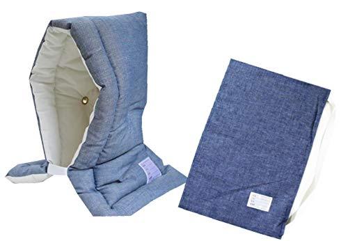 防災ずきん専用カバー付 日本製(小学生から大人まで)Lサイズ 防災クッション(約30×46cm) (デニム)