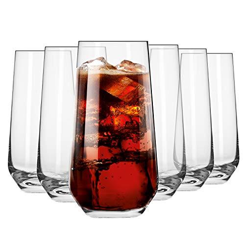 Krosno Wassergläser Longdrinkgläser Trinkgläser | Set von 6 | 480 ML | Splendour Kollektion | Perfekt für zu Hause, Restaurants und Partys | Spülmaschinenfest und Mikrowellengeeignet