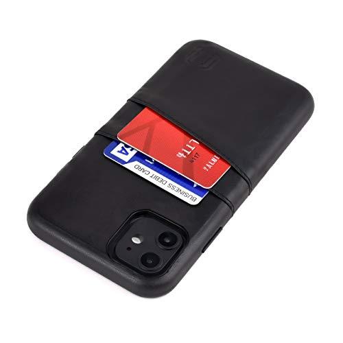 Dockem Exec M2 Funda Cartera para iPhone 11 (6.1): Funda Tarjetero Slim con Placa de Metal Integrada para Soporte Magnético: Serie M [Negro]