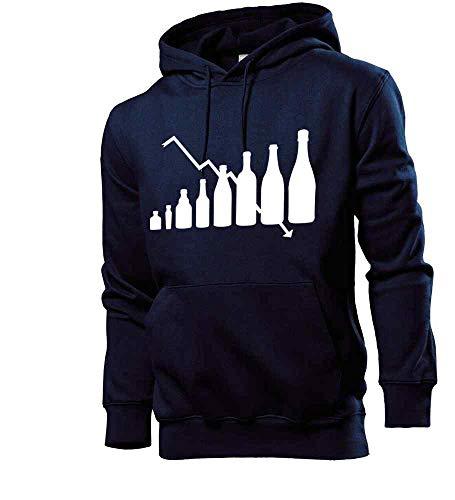 Generisch shirt84.de Evolution - Sudadera con capucha para hombre, diseño de evolución de botellas de alcohol azul marino M