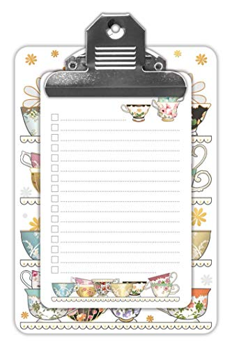 Rustige collecties Klembord met Kladblok - Tijd voor Thee Ontwerp - 100 Pagina's - Grootte 120mm x 170mm
