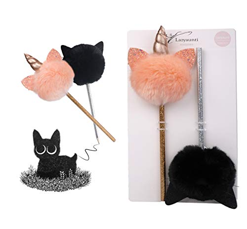 Lazyaunti Fluffy Topper Pencils,Marabou Pencil,Tip Topz Pencil for Kids/party/Gifts (Black Cat)