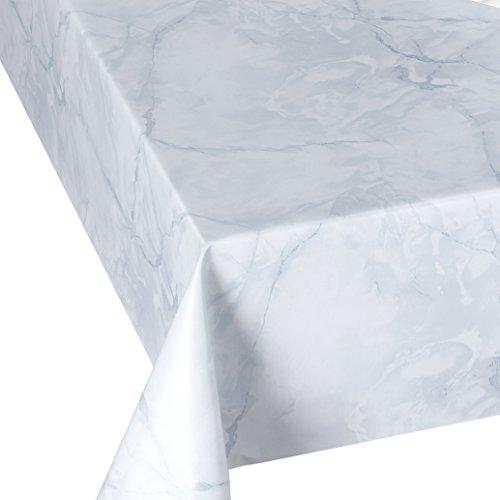 DecoHomeTextil Wachstuch Wachstischdecke Tischdecke Breite und Länge wählbar abwaschbare Gartentischdecke Lack Marmor Hellgrau Weiß 130 x 160 cm Eckig