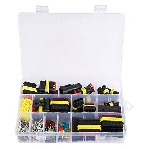 Fusibles Coche, 240pcs impermeable reemplazo 12V Auto Parts conectador del alambre eléctrico con terminal Conjunto de terminales y fusibles de coches (Color : Black)