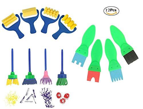 Chris.W 12 Pack EVA Foam Paint Sponges Brushes Roller Brayer Art Craft Graffiti Paintbrushes Set for Kids - Great Early Learning Painting Toys - BPA Free