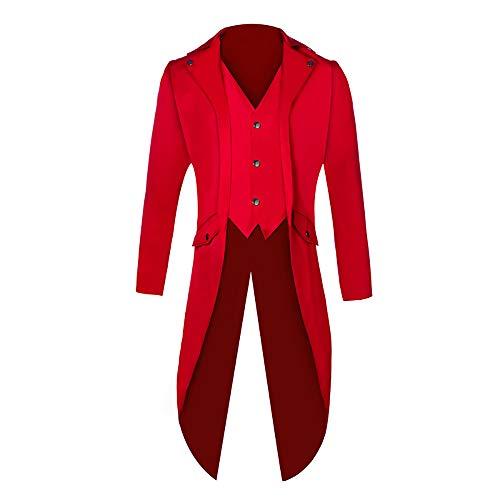 Shujin Herren Vintage Frack Steampunk Gothic Jacke Viktorianischen Langer Mantel Fasching Karneval Cosplay Kostüm Smoking Jacke Uniform (Rot, XL)