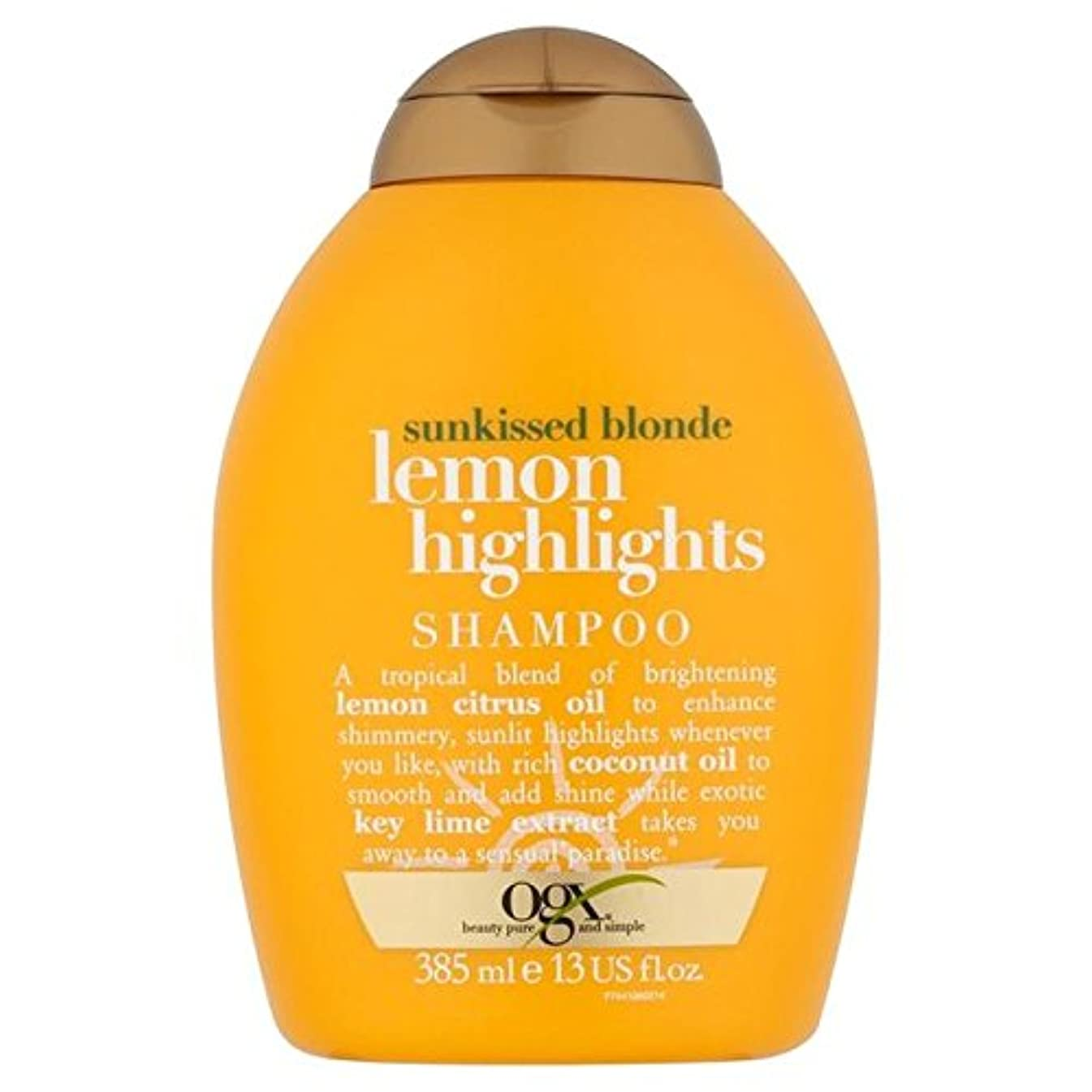 ブロンドレモンハイライトシャンプー385ミリリットル x4 - Ogx Blonde Lemon Highlights Shampoo 385ml (Pack of 4) [並行輸入品]