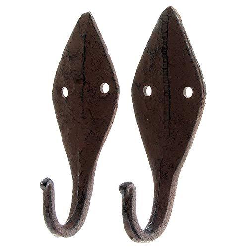 MACOSA SA89032 Garderoben-Haken 2 STK. Vintage Gußeisen Dunkelrostfarben Deko-Haken Nostalgie Wand-Haken Kleiderhaken Handtuchhaken Schlüssel-Haken