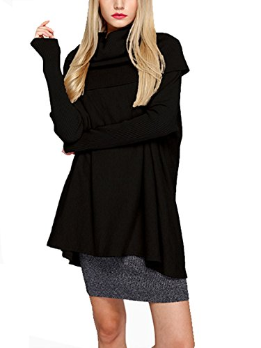 Choies Women's Turtle Neck Batwing Rib Sleeve Cable Knit Sweater Pullover Tunic XL Black