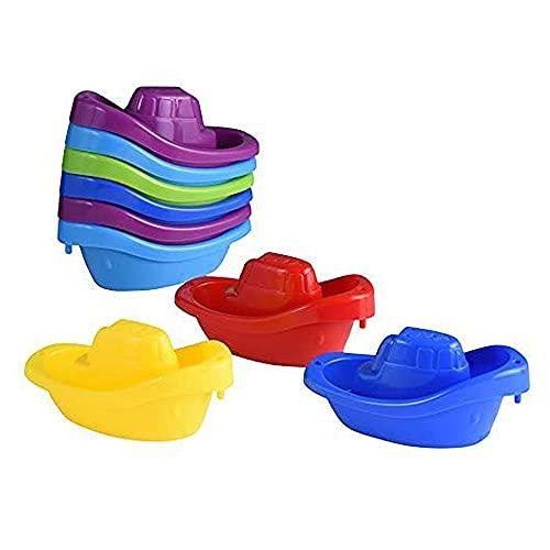 Playkidz Juguete de baño Pequeño Bote Paquete de Tren de 9 remolcadores de plástico apilables para niños para bañera y más en 6 Colores, Edades 3 y más, Multicolor (3052)