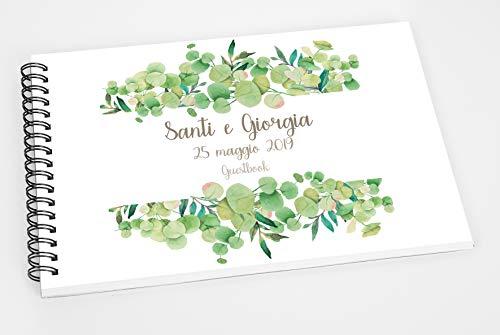 Guestbook matrimonio - libro dediche e auguri invitati personalizzato greenery foglie
