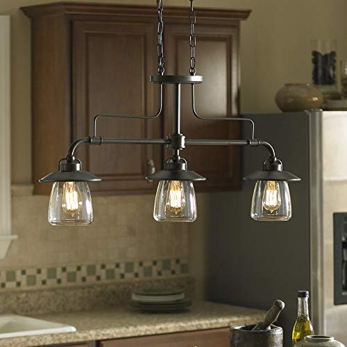 How far apart should pendant lights be over an island in the kitchen:Bronze Kitchen Island Light with Clear Shade