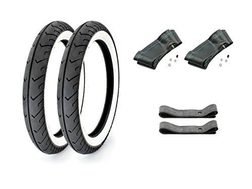 SET 2 Weißwand Reifen MITAS - 2.75 x 16 Zoll + 2x Schläuche + 2x Felgenband