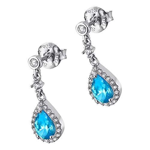 LOTUS JLP1592-4-3 - Pendientes de gota de plata para mujer con circonitas