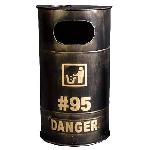 Rubbish Can Bote de Basura Retro, Estilo Industrial, Hierro Forjado, Exterior, Cubo de Basura, decoración, hogar, Bar cafetería (Color : A)