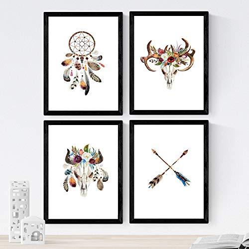 Nacnic Set de 4 láminas de Plumas Y Flores Boho,en tamaño A3, Poster Papel 250 gr Marco