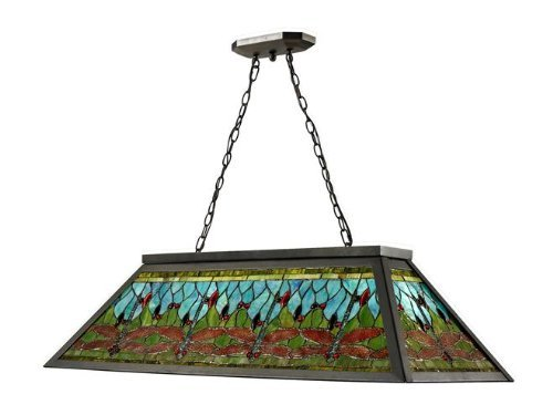 "Dale Tiffany TH12406 Glade Pool Table Hanging Fixture, 19"" x 44"" x 11"", Dark Bronze"