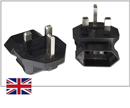 DINIC Reisstekker, stroomadapter voor Engeland op geaard stopcontact, netadapter 2-polig UK gehoekt